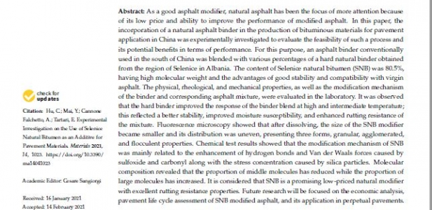 Experimental Investigation on the use of Natural Bitumen Selenizza SLN as an Additive for Pavement M
